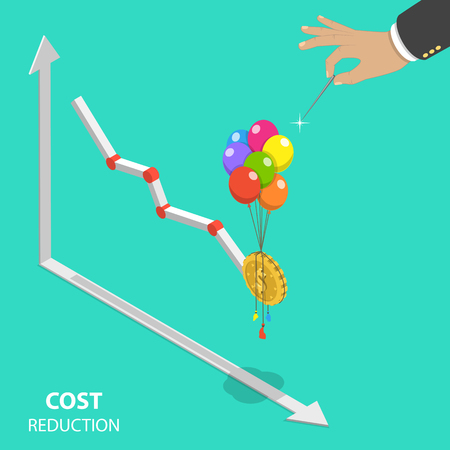 Cost reduction concept Vectores