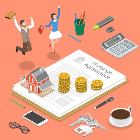Mortgage flat isometric vector concept.