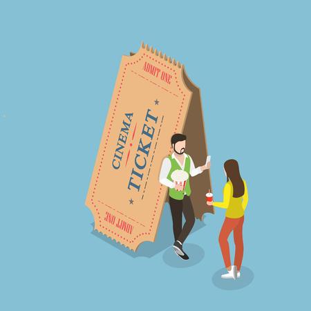 ムービーチケットフラットアイソメベクトルコンセプト。若いカップルは2枚の大きな紙のチケットの近くに立っています。  イラスト・ベクター素材