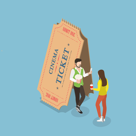 Movie tickets flat isometric vector concept. Young couple is standing near the two big paper tickets. Illustration