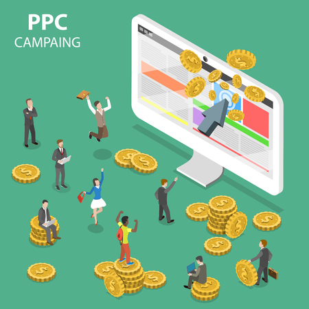 PPC campaign flat isometric vector concept.  イラスト・ベクター素材