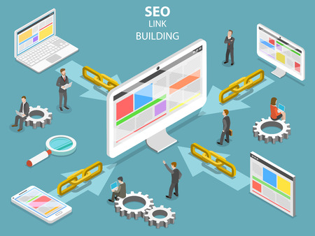 SEO link building flat isometric vector concept.