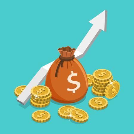所得成長率フラットアイソメトリックベクトル概念。  イラスト・ベクター素材