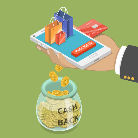 Cash back flat isometric vector concept.