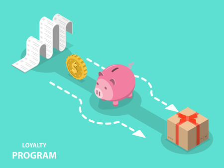 Loyalty program flat isometric vector concept.
