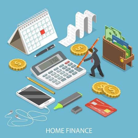 Płaskie izometryczne wektor finansów osobistych do domu.