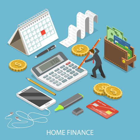 Personal home finance flat isometric vector.