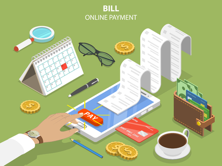 Rachunki płatności online koncepcja płaski izometryczny wektor