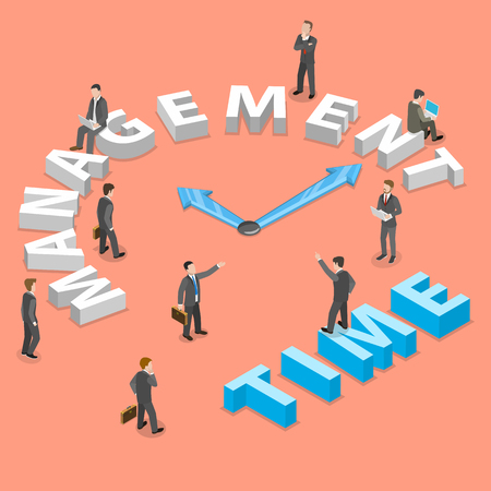Time management flat isometric vector concept.