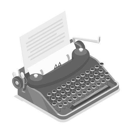 Schrijfmachine isometrische vector. Stock Illustratie