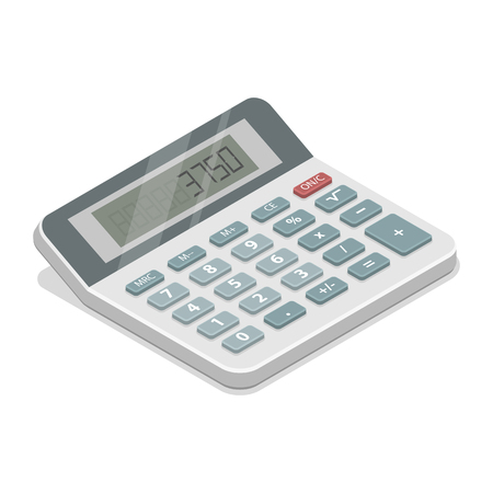 Grey isometric calculator vector illustration.