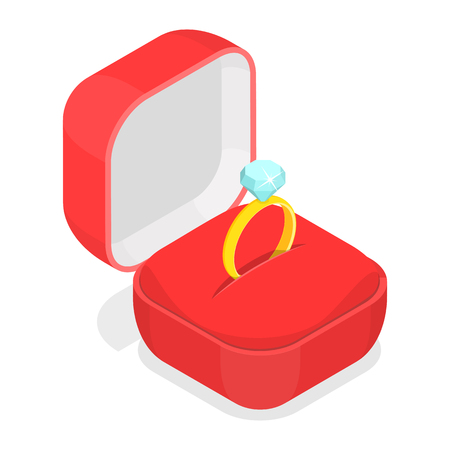 Wedding ring in the box isometric vector. Illustration