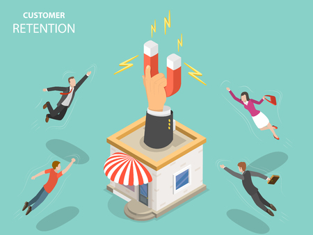 Customer retention flat isometric vector concept.