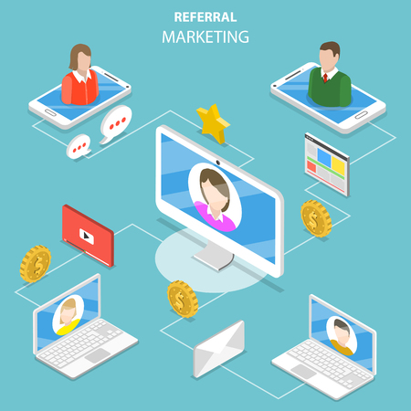 Referral marketing flat isometric vector concept.