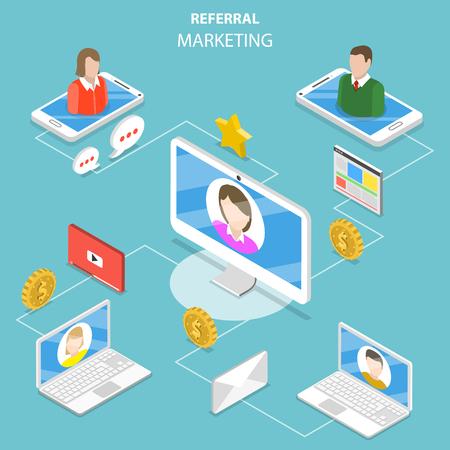 Concepto de vector isométrico plano de marketing de referencia.