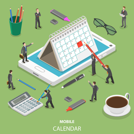Mobile calendar flat isometric vector concept illustration. Illustration