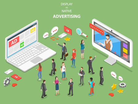Display vs native advertising isometric vector. 版權商用圖片 - 96272225