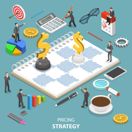 Pricing strategy flat isometric vector concept.