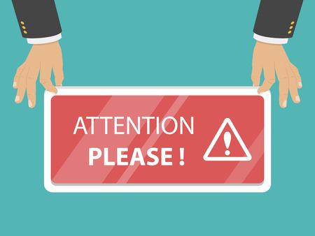 Attention please flat vector illustration.