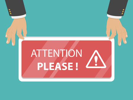 Attention please flat vector illustration.