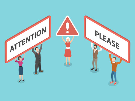 Attention please isometric vector illustration. Çizim