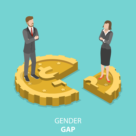 Gender gap flat isometric vector concept.