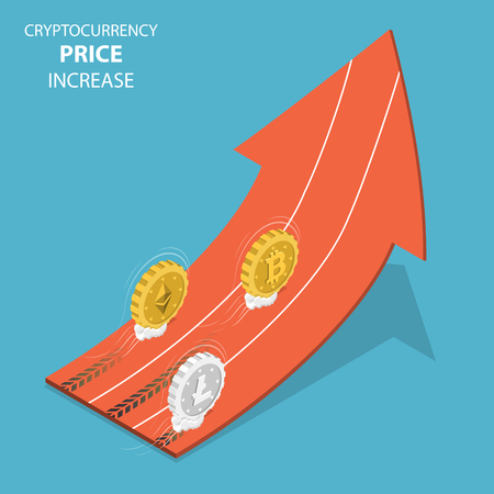 Cryptocurrency price increase isometric vector.