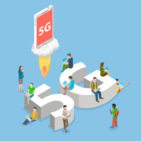 5g flat isometric vector concept.