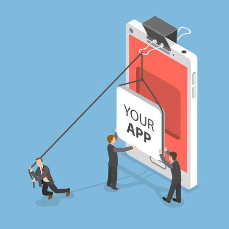 Your app flat isometric vector concept. People are setting an icon of some mobile application into a niche inside of smartphone screen. Illustration