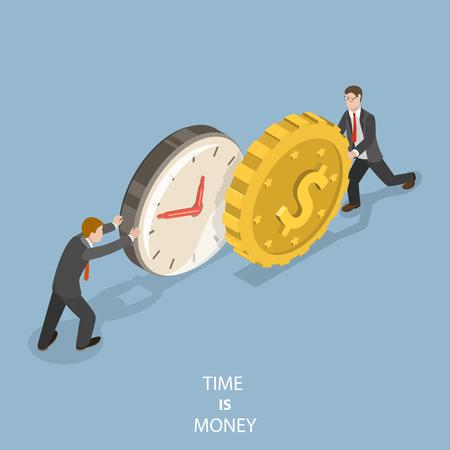 Tijd is geld plat isometrische vector concept. Twee zakenmensen duwen een horloge en een munt naar elkaar toe.