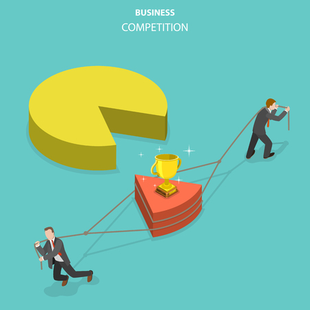 Business competition flat isometric vector concept.