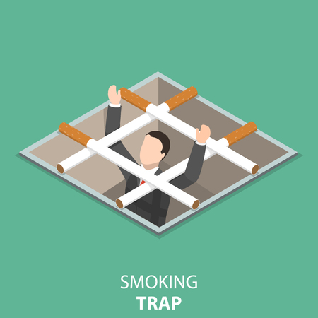 Smoking trap flat isometric vector concept. Vettoriali