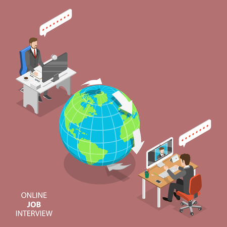 Online job interview flat isometric vector.