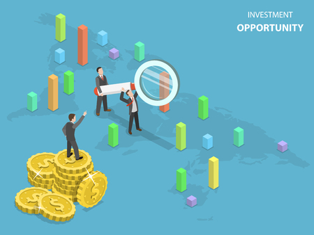 Investment opportunity concept flat isometric vector.
