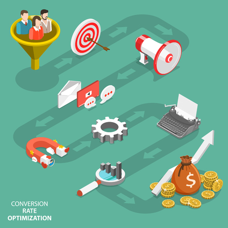 Conversion rate optimization concept flat isometric vector