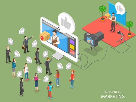Influencer marketing concept flat isometric vector concept