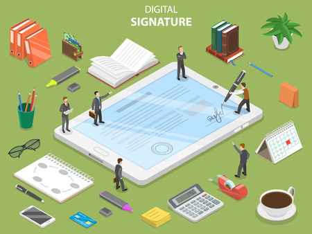 Digital signature flat isometric vector concept. Group of people are concluding a contract and signing it using digital tablet.