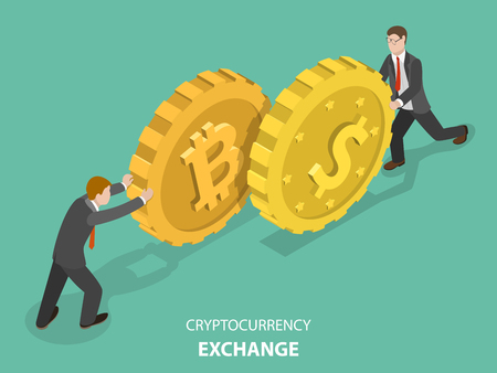 Cryptocurrency exchange concept flat isometric vector.