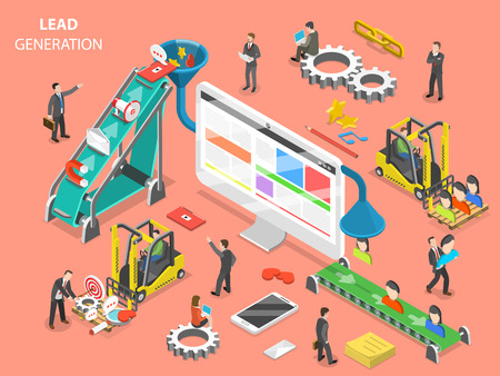 Lead generation concept flat isometric vector.