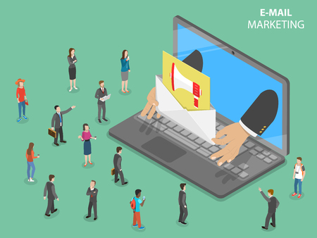 E-mail marketing flat isometric vector concept.