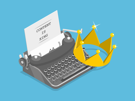 Content is king flat isometric vector concept.