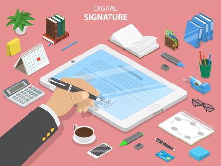 デジタル署名フラットアイソメベクトルコンセプト。