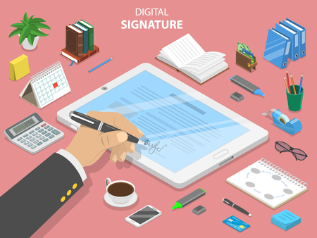 Digital signature flat isometric vector concept.