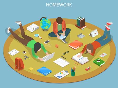 Homework flat isometric vector concept.  イラスト・ベクター素材