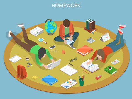 Homework flat isometric vector concept. Illustration