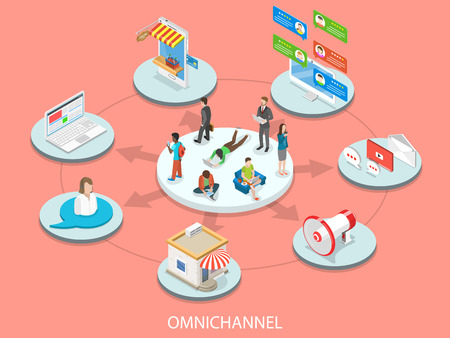 Omnichannel flat isometric vector concept.