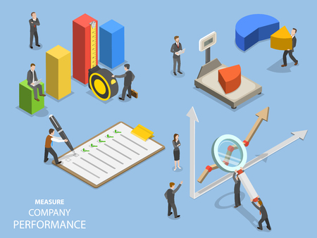 Business benchmarking flat isometric vector.