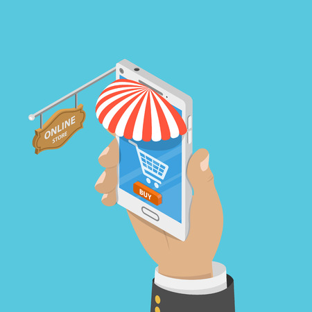 Mobile store flat isometric vector concept. Illustration