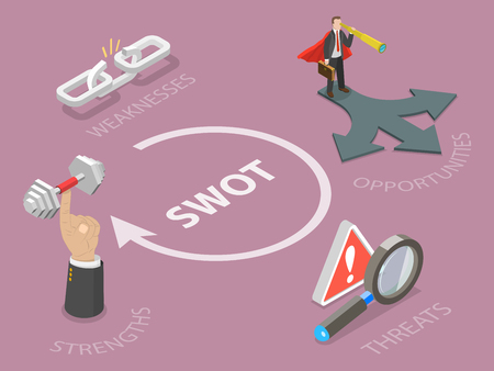 SWOT flat isometric vector concept isolated on plain background. Foto de archivo - 98259339