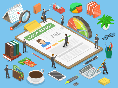 A Credit report flat isometric vector concept isolated on plain background. Illustration